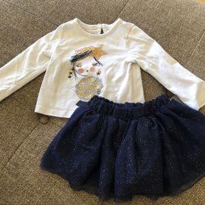 TOUGHSKINS girls 12 month matching top and skirt